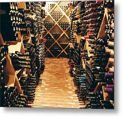 Interior Of A Wine Cellar Metal Print