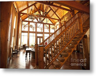 Interior Of Large Wooden Lodge Metal Print by Will and Deni McIntyre
