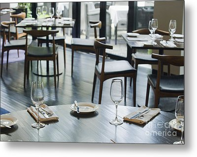 Interior Of Restaurant Metal Print by Shannon Fagan