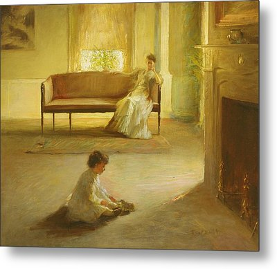 Interior With Mother And Child Metal Print