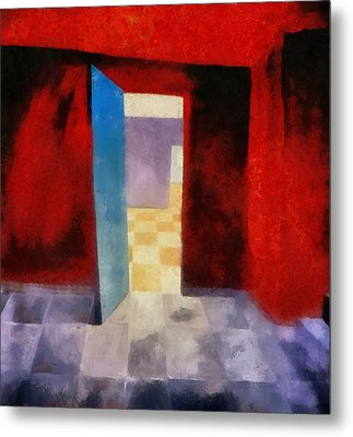 Interior With Red Walls Metal Print by Michelle Calkins