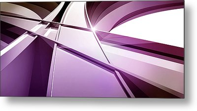 Intersecting Three-dimensional Lines In Purple Metal Print by Ralf Hiemisch