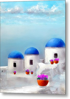 Into The Heavens Santorini Metal Print by Larry Cirigliano