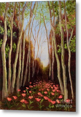 Into The Woods-poppies Metal Print by Vic  Mastis