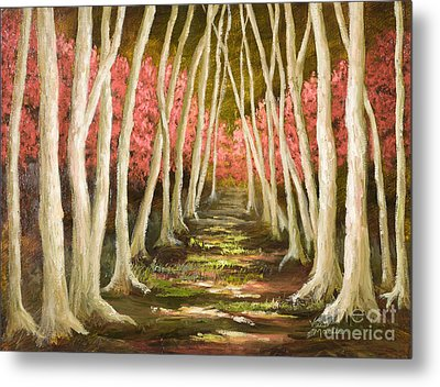 Into The Woods-series With Gold Leaf By Vic Mastis Metal Print by Vic  Mastis