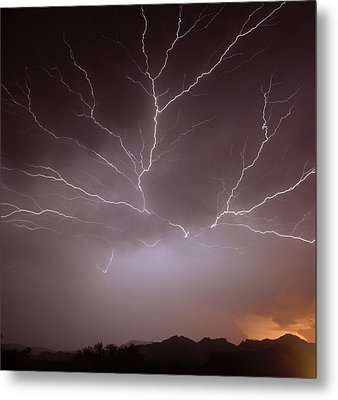 Intra-cloud Lightning At Night, Over Phoenix, Usa Metal Print by Keith Kent