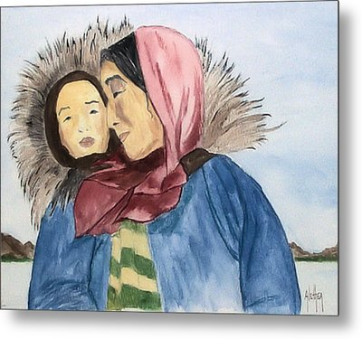 Inupiaq Eskimo Mother And Child Metal Print by Alethea McKee