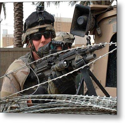 Iraqi And U.s. Soldiers Patrol The Al Metal Print by Stocktrek Images