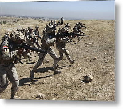 Iraqi Army Soldiers Move To Positions Metal Print by Stocktrek Images