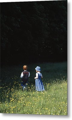 Ireland Children In A Field Metal Print by The Irish Image Collection