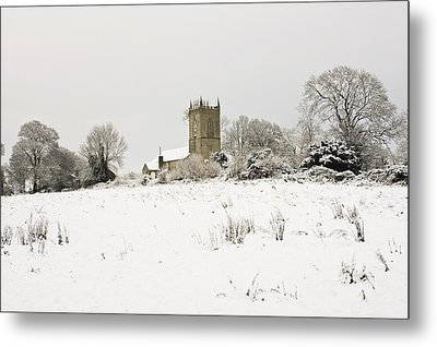 Ireland Winter Landscape With Church Metal Print by Peter McCabe