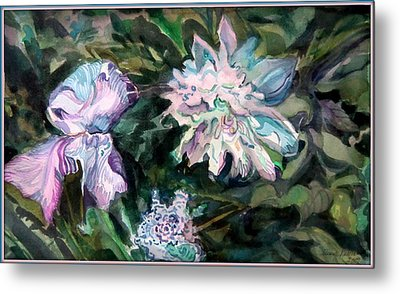 Iris And Peonies Metal Print by Mindy Newman