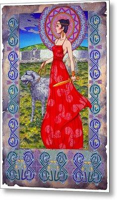 Irish Celtic Fantasy Art Print - Boann Bru Na Boinne Metal Print