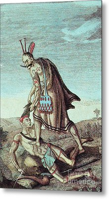 Iroquois Warrior Scalping Enemy, 1814 Metal Print by Photo Researchers