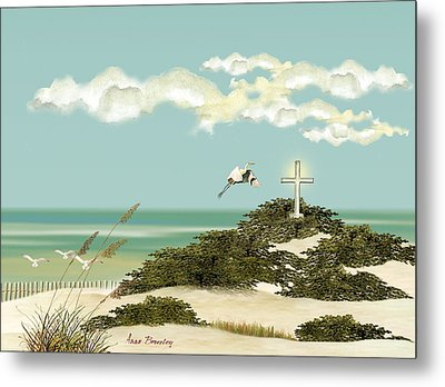 Island Cross Metal Print by Anne Beverley-Stamps