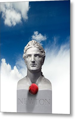 Issac Newton And The Apple, Artwork Metal Print by Victor Habbick Visions