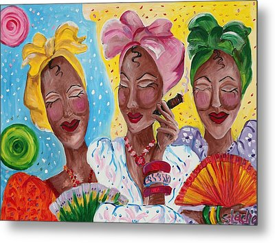 It Is Just Us 4 Girls Having A Conversation  Metal Print