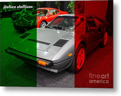 Italian Stallions . 1984 Ferrari 308 Gts Qv Metal Print by Wingsdomain Art and Photography