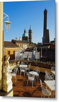 Italy, Bologna,towers Degli Asinelli And Garisenda Metal Print by Bruno Morandi