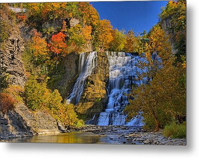 Ithaca Falls In Autumn Metal Print by Matt Champlin