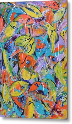 Metal Print featuring the painting Its A Bit Crowded by Lyn Olsen