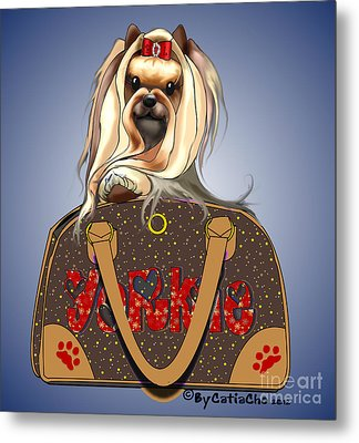 It's A Yorkie In A Bag  Metal Print by Catia Cho