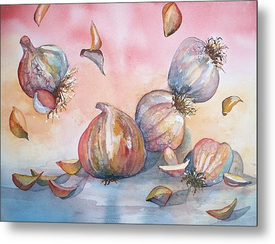 Its Raining Garlic Metal Print by Sandy Collier