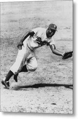Jackie Robinson, Fielding Third Base Metal Print by Everett
