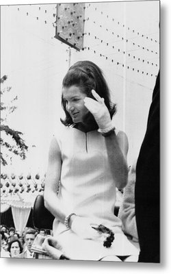 Jacqueline Kennedy, Riding In An Open Metal Print by Everett