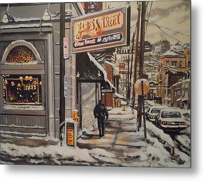 Metal Print featuring the painting James Street Restaurant  by James Guentner