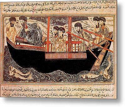 Jami Al-tawarikh, Noah And His Sons Metal Print by Photo Researchers