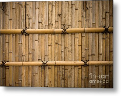 Japanese Bamboo Fence Metal Print