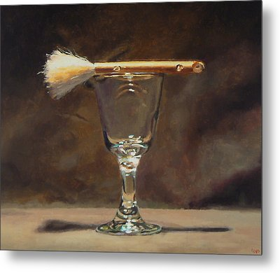 Japanese Brush And Wineglass Metal Print by Jeffrey Hayes