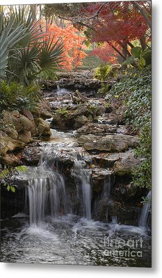 Waterfall In The Japanese Gardens, Ft. Worth, Texas Metal Print
