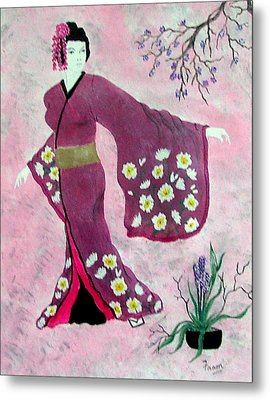 Japanese Lady Metal Print by Fram Cama
