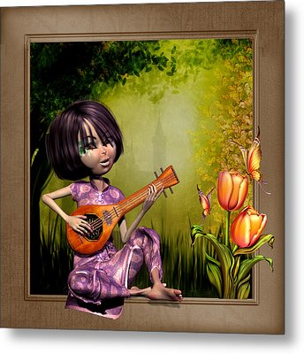 Japanese Woman Playing The Lute Metal Print
