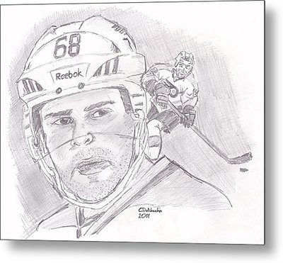 Metal Print featuring the drawing Jaromir Jagr by Chris  DelVecchio