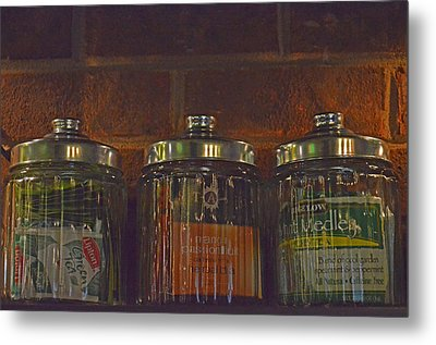 Jars Of Assorted Teas Metal Print by Sandi OReilly
