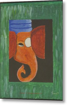 Metal Print featuring the painting Jay Ganesh by Sonali Gangane