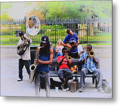Jazz Band At Jackson Square Metal Print by Bill Cannon