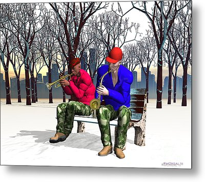 Jazzmas In The Park 1 Metal Print by Walter Oliver Neal