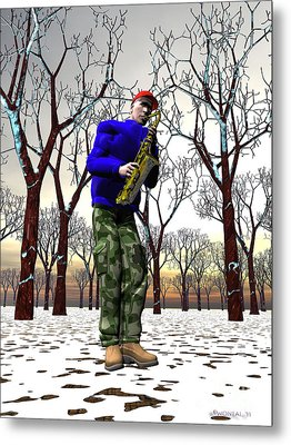 Jazzmas In The Park 3 Metal Print by Walter Oliver Neal