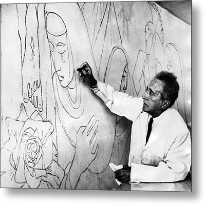 Jean Cocteau Works On A Mural Metal Print by Everett