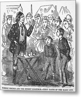 Jean Eugene Robert Houdin (1805-1871). French Magician. Wood Engraving, C1880, From An American Edition Of Houdins Autobiography, Depicting His First Childhood Encounter With A Street Magician Metal Print by Granger