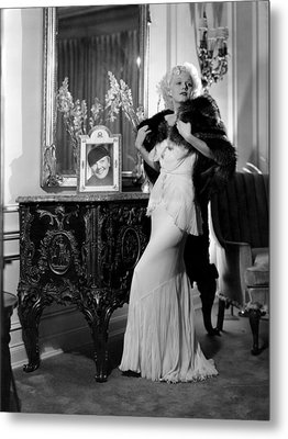 Jean Harlow With Photograph Metal Print by Everett