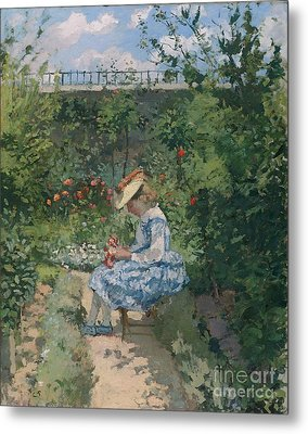 Jeanne In The Garden Metal Print by Camille Pissarro