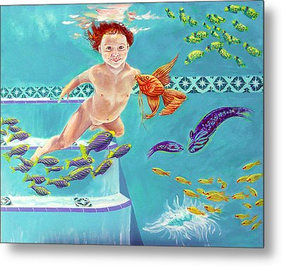 Metal Print featuring the painting Jeannie As A Baby Swimming As A Fish by Nancy Tilles