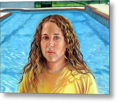 Metal Print featuring the painting Jeannie At The Pool by Nancy Tilles