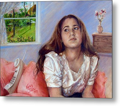 Metal Print featuring the painting Jeannie Waiting For A Call by Nancy Tilles