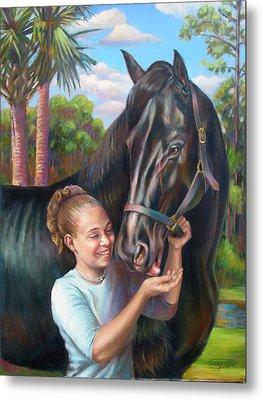 Metal Print featuring the painting Jeannie With Seiba's Gentle Touch by Nancy Tilles
